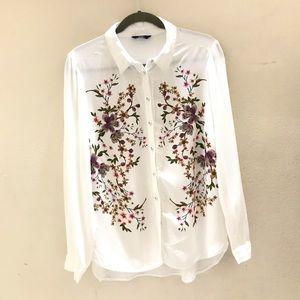 F&F White Floral Button Down Shirt